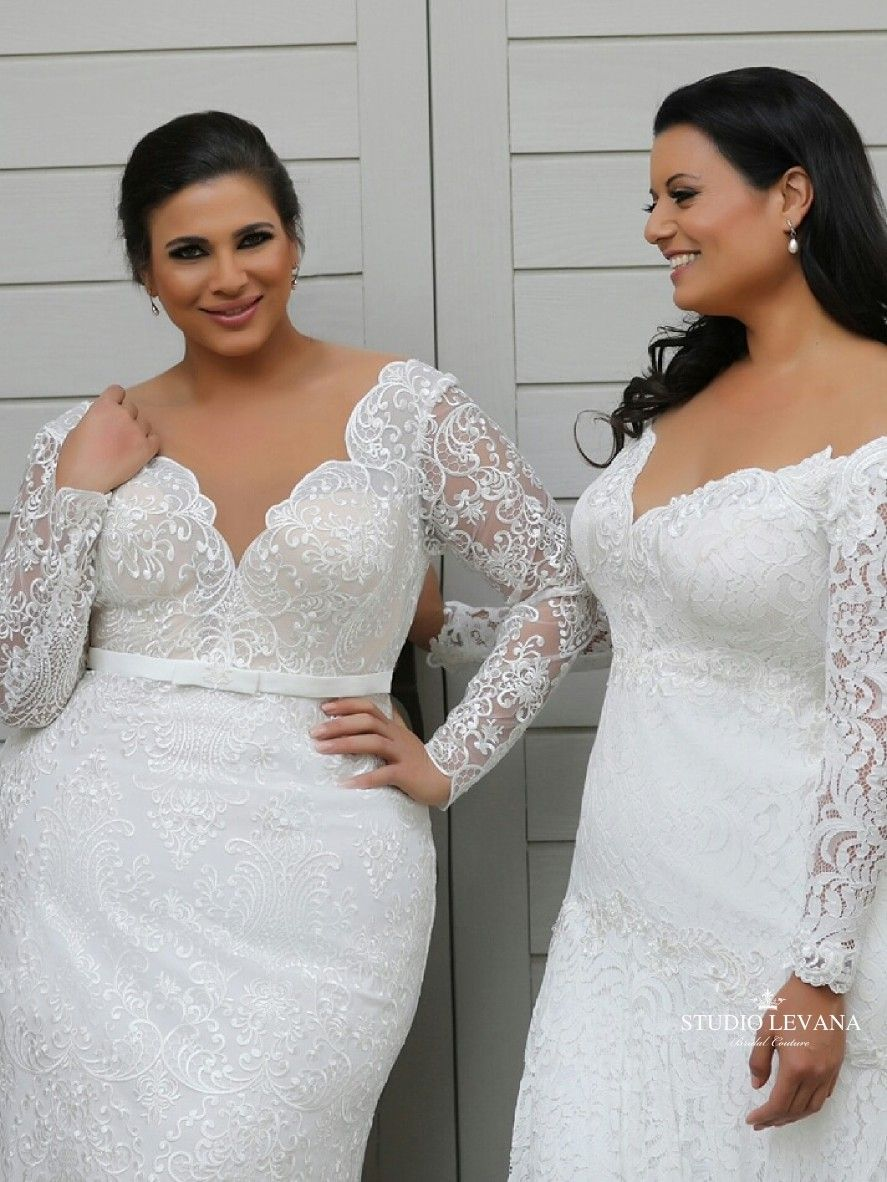 Plus size mermaid lace wedding gowns with long sleeves from studio