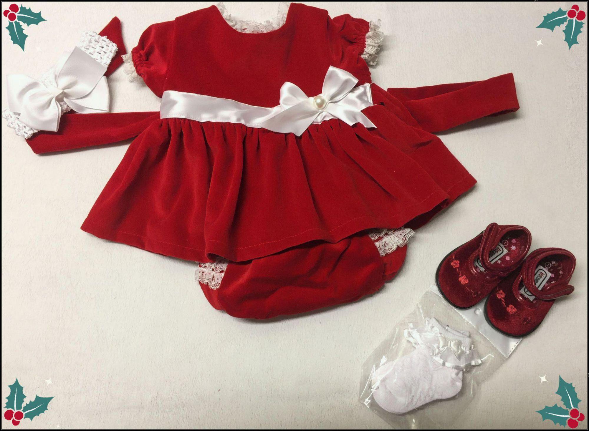 Home Made Baby Girl CHRISTMAS Red VELVET Dress Vintage Pattern