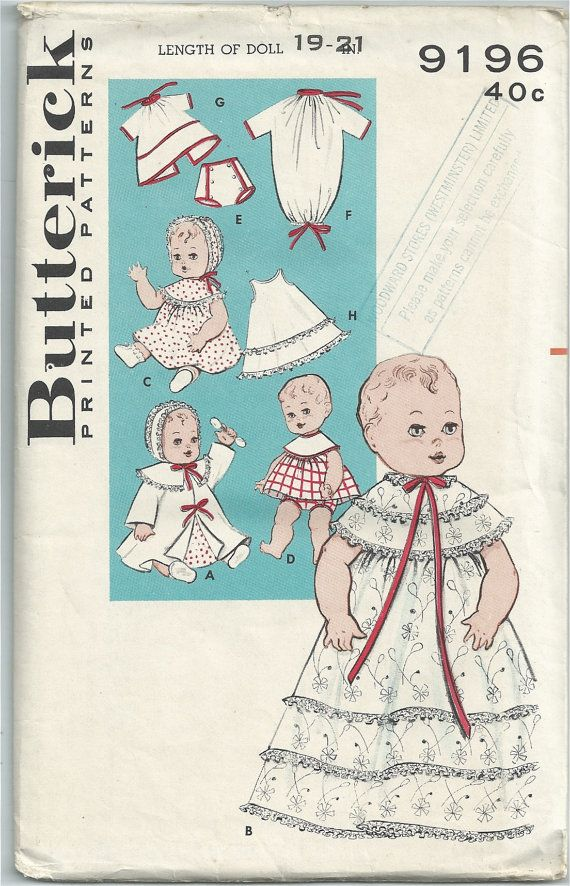 Vintage 1960s Butterick 9196 Sewing Pattern - baby doll\'s wardrobe ...