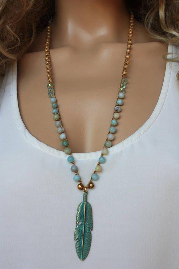 Photo of Amazonite Crochet Necklace, Patina Feather Charm  Beach Jewelry,Amazonite Crochet Necklace, P…