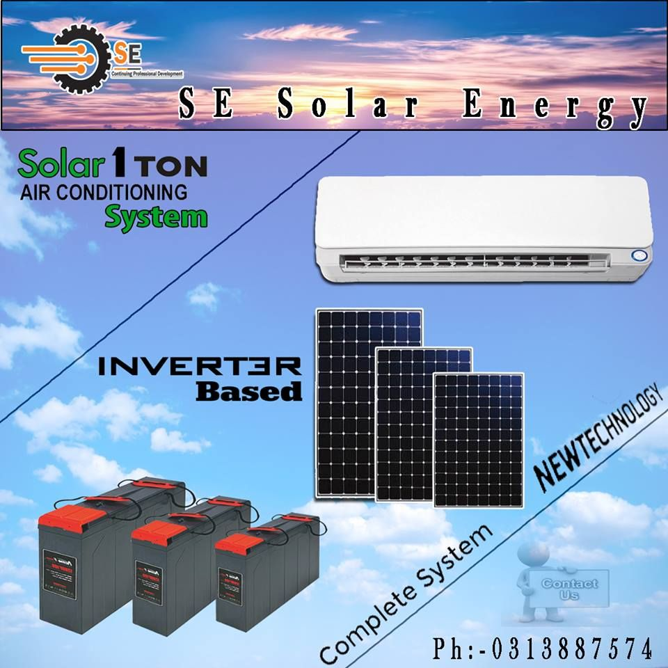 Direct Run On Solar At Day Time Night Backup From Battery Bank 1 Ton Solar Air Conditioner Split Unit Sol Solar Air Conditioner Solar Air Conditioning System