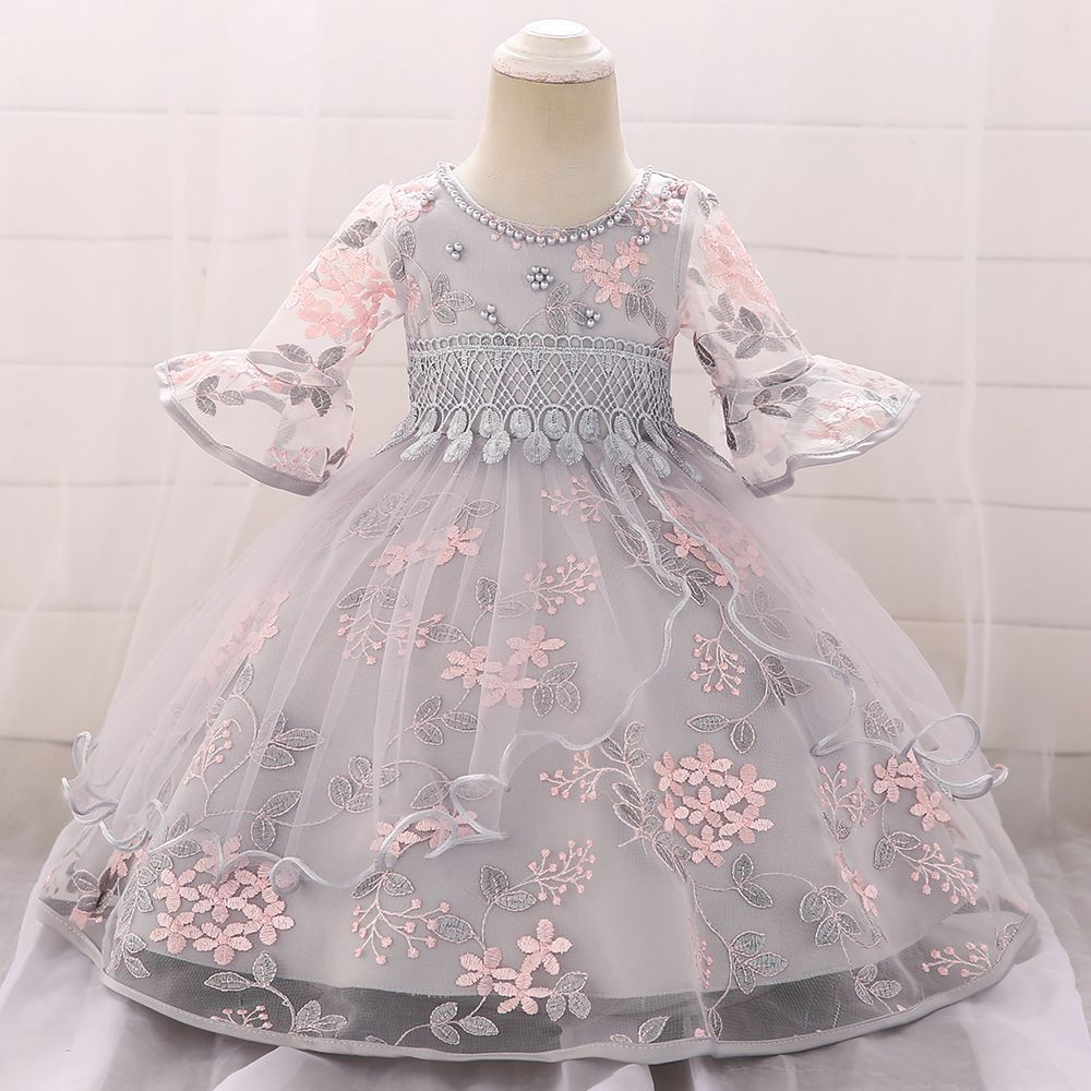 Baby / Toddler Elegant Leaf Applique Beaded Tassel Flare-sleeve Tulle Bubble Princess Dress #babygirlpartydresses