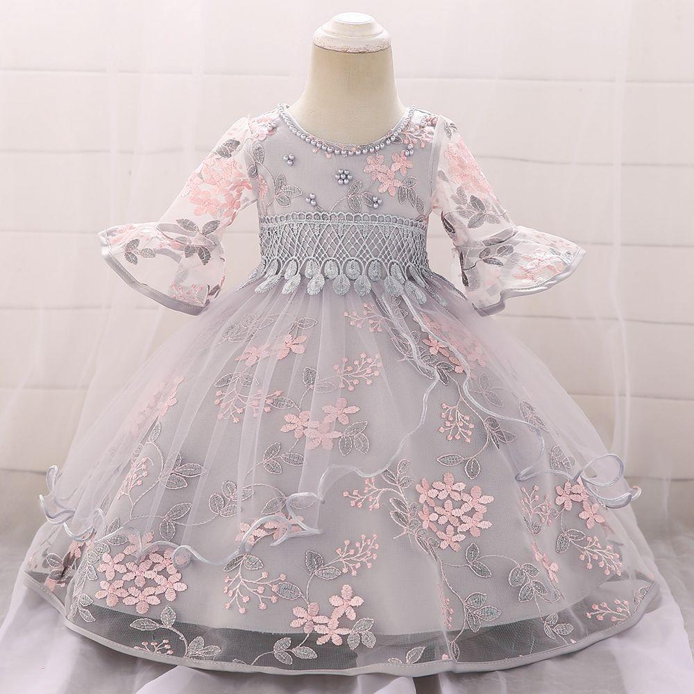 Baby / Toddler Elegant Leaf Applique Beaded Tassel Flare-sleeve Tulle Bubble Princess Dress #babygirlpartydresses
