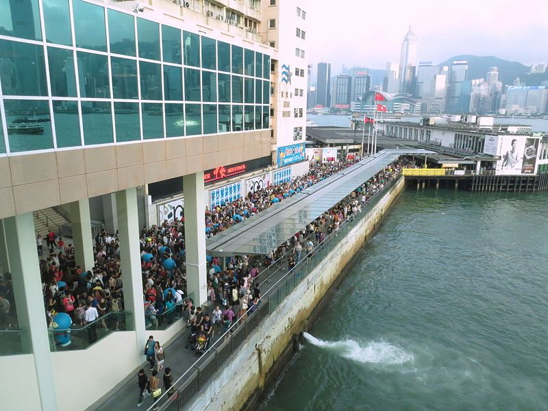 Harbour City pier, right next to our hotel in HK. Crowded picture!