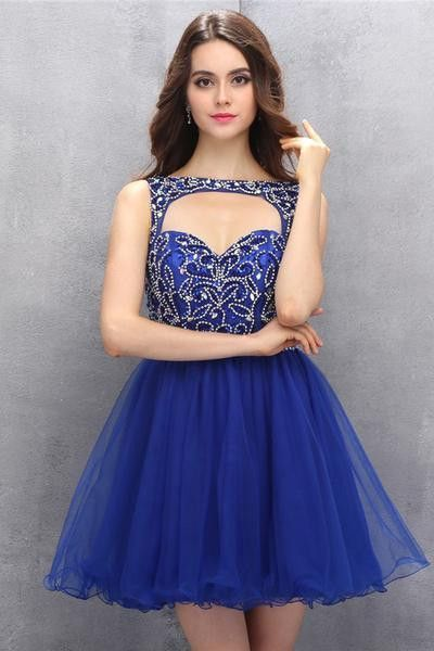 Royal Blue Organza Homecoming/Prom Dresses With Beading Sexy Bridesmaid Dress ,Cheap Prom Dress