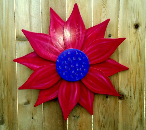 Giant Wooden Flower Red And Purple By Sallyswoodcrafts On