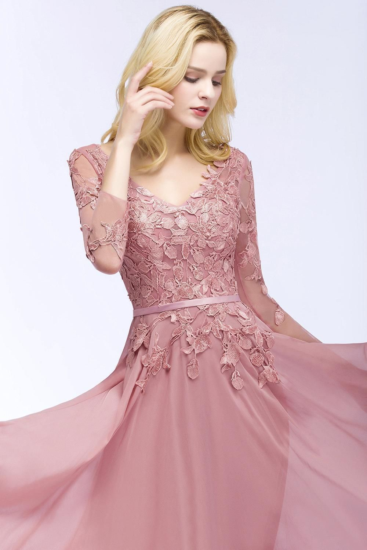 v neck chiffon long evening dresses sheer long sleeves lace