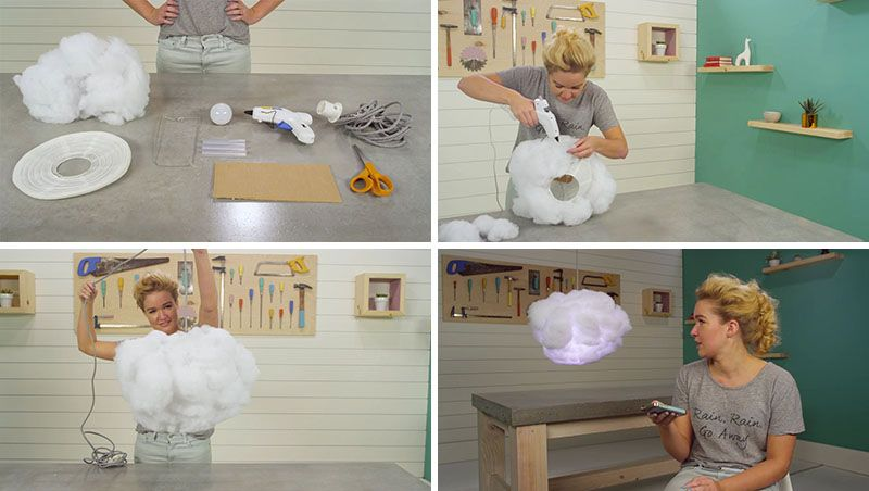Create This Diy Interactive Cloud Lamp That Can Change Color And Respond To Music Cloud Lamp Diy Cloud Light Twin Girls Nursery