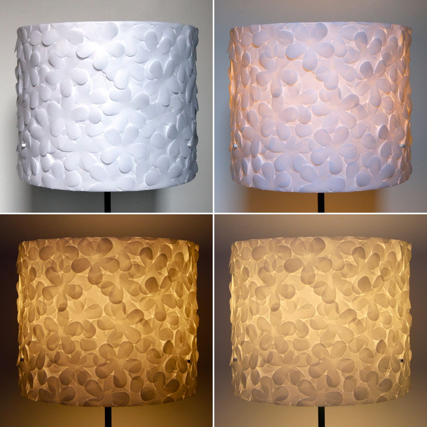 White Flower Lamp Shade Large Drum Shade Only By Zipper8lighting
