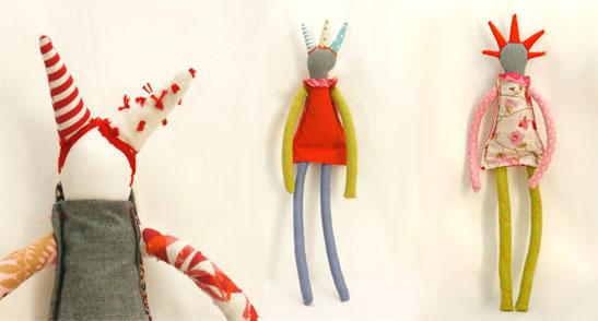 Las muñecas deTimo Hanmade(Timor Cohen, diseñadora israelí), casi más parecen ilustraciones realizadas a pincel que figuras de tela rellenas.