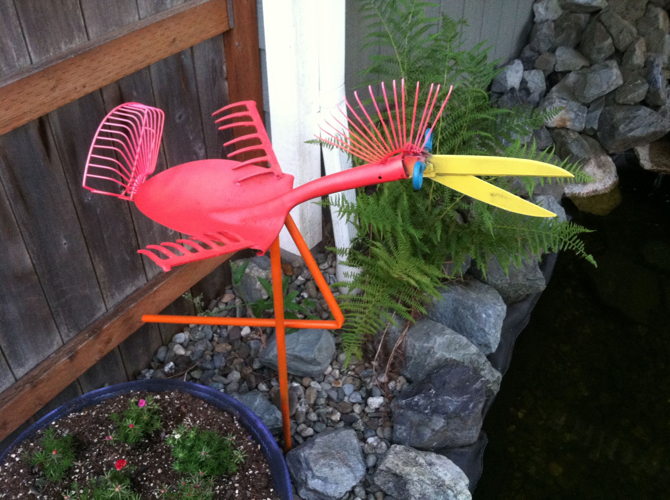 Shovel shears rake stork or flamingo yard pond art metal for Wire yard art