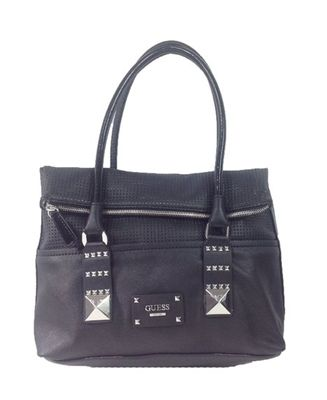 GUESS 'Rocker Geos' Perforated Fold Over Tote, Black List Price: $118.00 Our Price: $55.00 Savings: $63.00