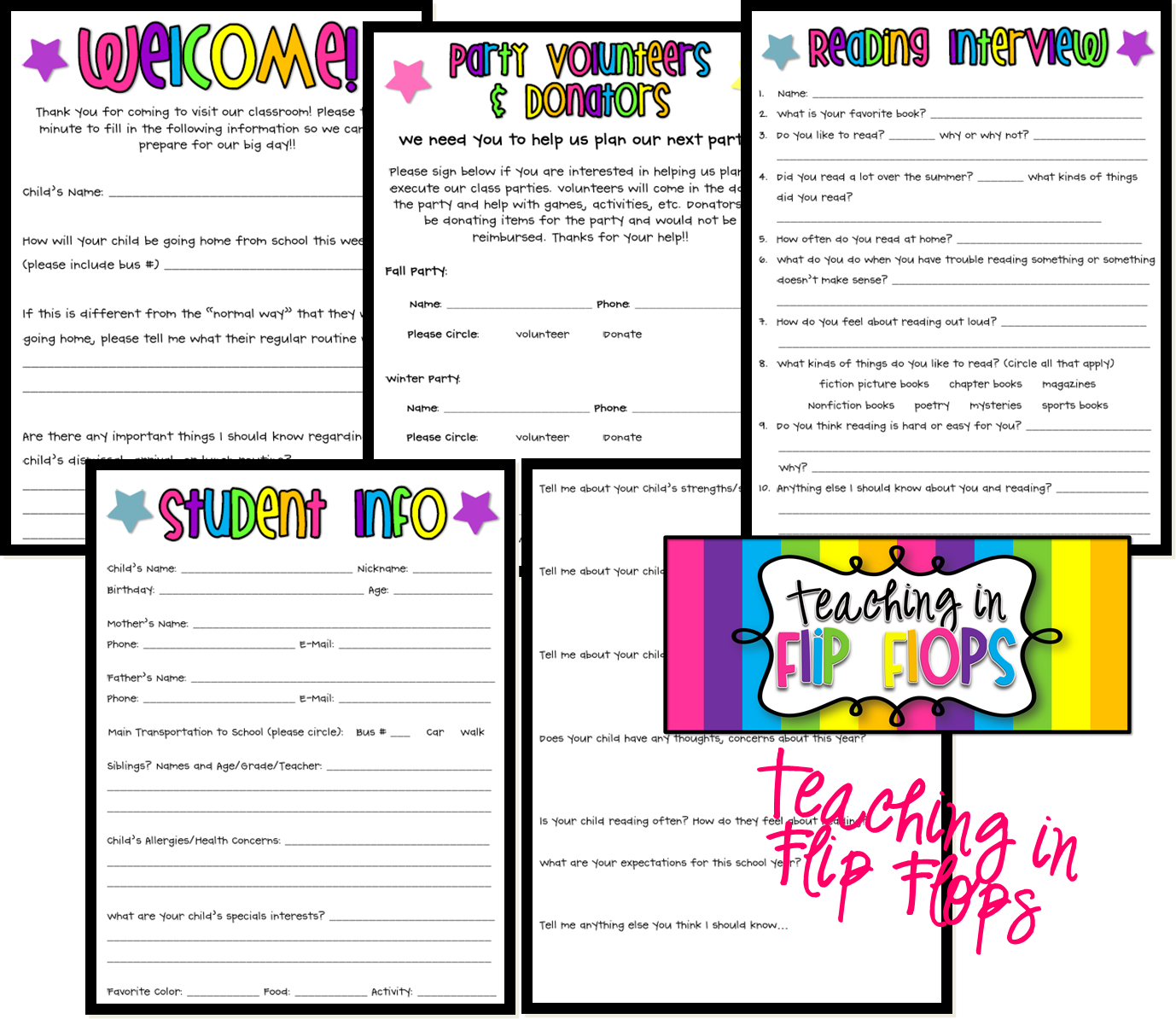 Great forms for Back to School. Thanks - Teaching in Flip Flops