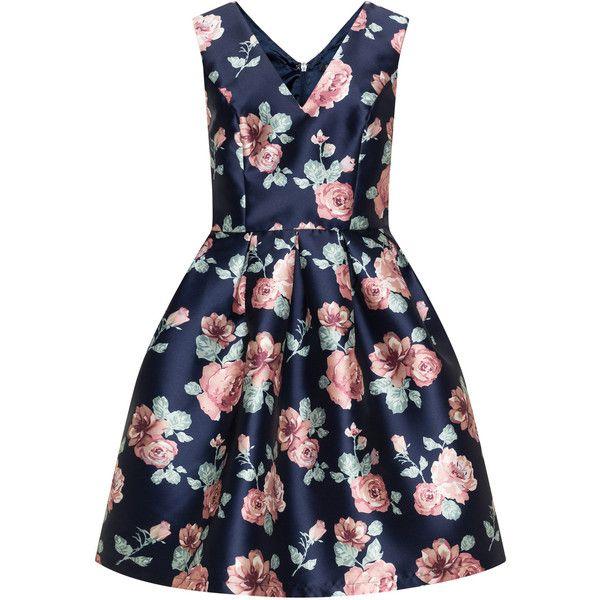 CHI CHI Curve Dark-Blue / Dusky-Pink Plus Size Rose print A-line dress (246.150 COP) ❤ liked on Polyvore featuring dresses, plus size, women plus size dresses, womens plus dresses, a line long dress, rose print dresses and dark blue dress