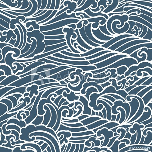 Pattern Seamless Ocean Waves Hand Draw Asian Style White Hand
