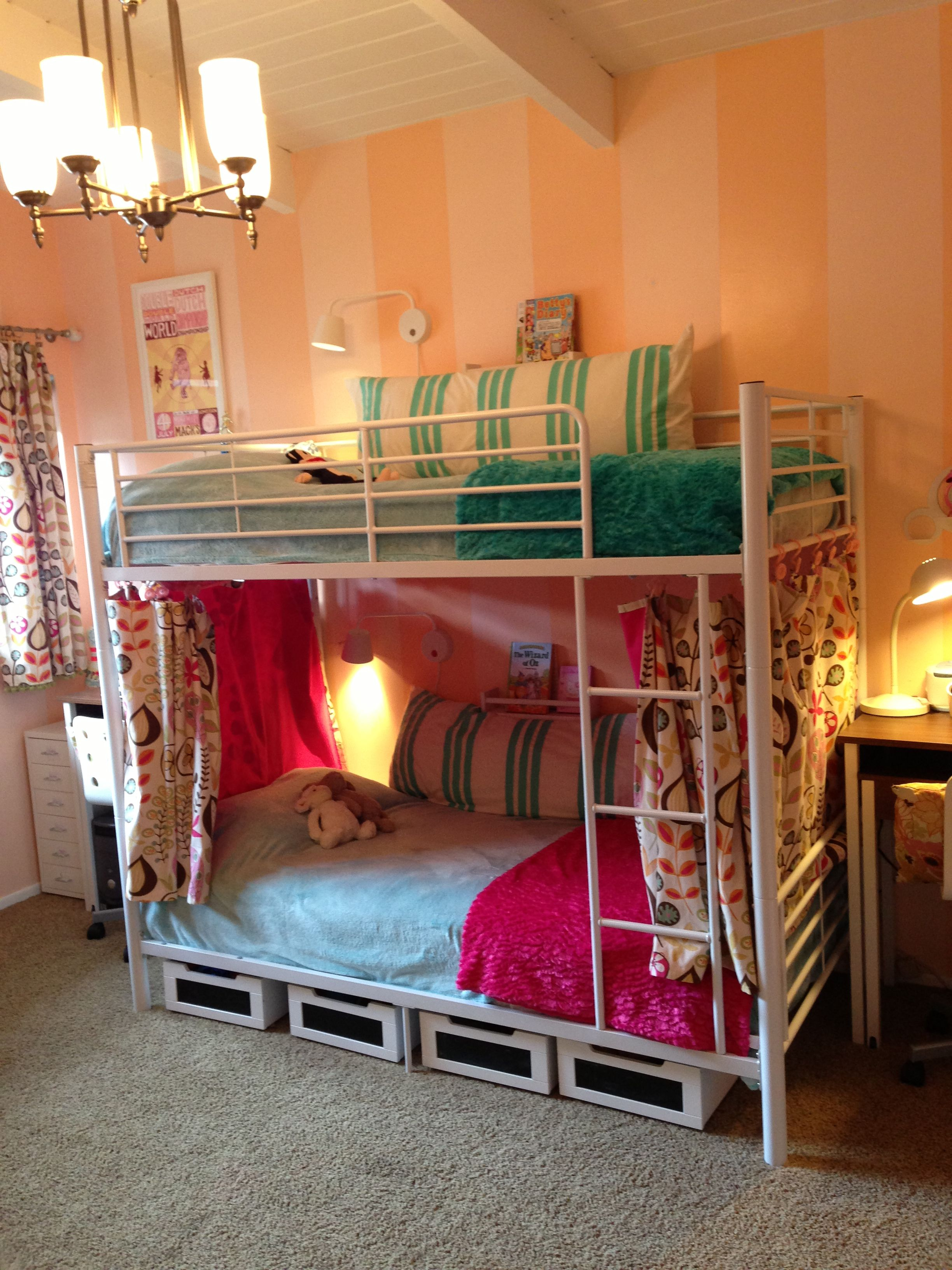 Inexpensive White Metal Bunkbed Cozied Up With Curtains