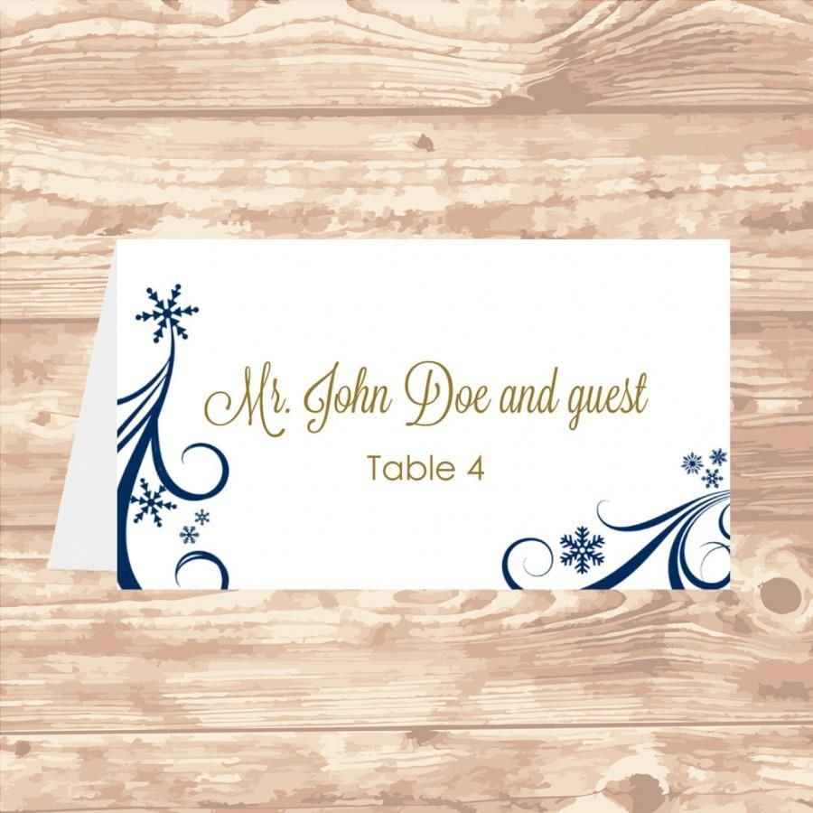 Wedding Place Card Diy Template Navy Swirling Snowflakes Intended For Wedding Place Card Temp In 2020 Wedding Card Diy Wedding Place Card Templates Place Card Template
