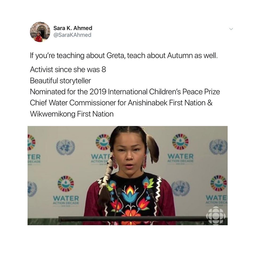 The Conscious Kid S Instagram Photo Autumn Peltier Has Been Advocating For Clean Drinking Water All Across Canada And Beyond Storytelling Instagram Children