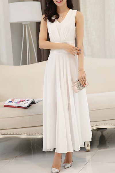 14.95 Fairy Style V Neck Sleeveless Pleated Dress For Women f461dc0d7