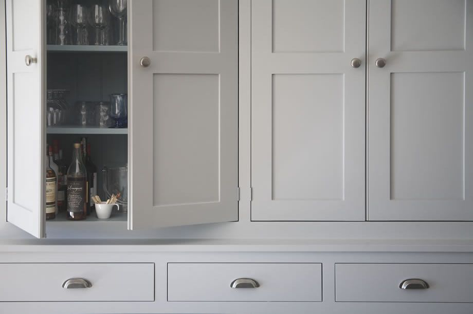 Luxury handmade kitchen cabinetry painted in farrow for Kitchen wardrobe colours
