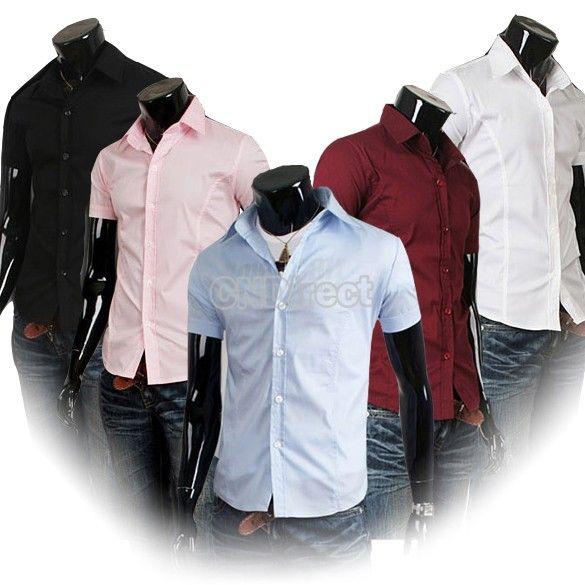 $10.40 Men Casual Slim Fit Stylish Short Sleeve Pure Color Shirt 5 Color