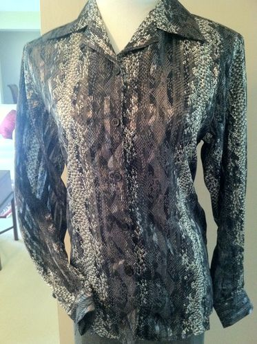 Vintage Metallic Snake Print Blouse Featuring Sheer Shadow Print Fabric