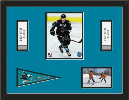 One framed 8 x 10 inch San Jose Sharks photo of Patrick Marleau with a San Jose Sharks mini pennant, and openings for 1 or 2 ticket stubs* and one 4 x 6 inch personal photo**, double matted in team colors to 24 x 18 inches.  (Pennant design may change) $119.99     @ ArtandMore.com