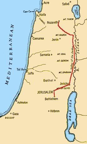 Map Of Bethlehem Map Of Journey Of Mary And Joseph From Nazareth To Bethlehem Is