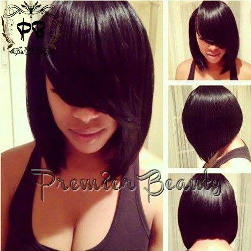 FreeShipping human hair srt bob wig Natural Black 15% human ...