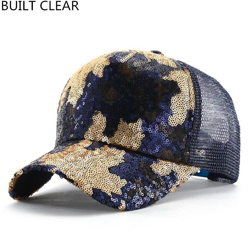 1ffeb0ea921 (BUILT CLEAR) net cap 2017 new summer sequins camouflage adjustable female baseball  cap