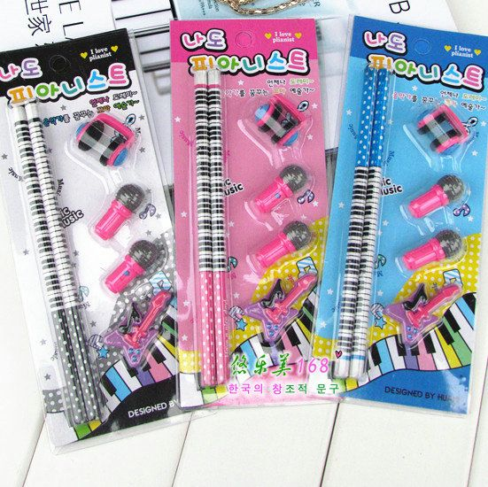 music stationery set piano notes rubber set piano pencil set instationery set from office school