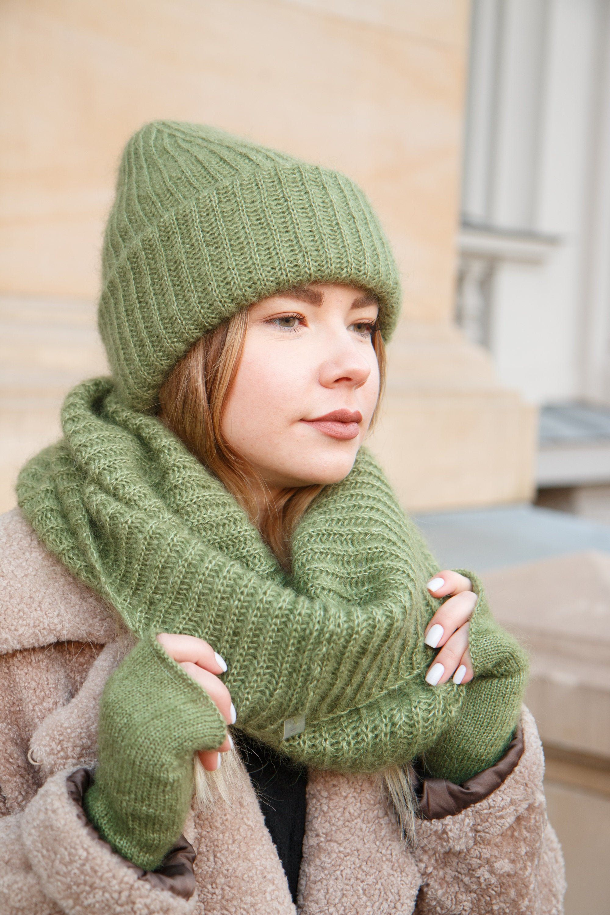 Chunky knitted hat Mohair silk winter beanie hat Cashmere oversize hat for women