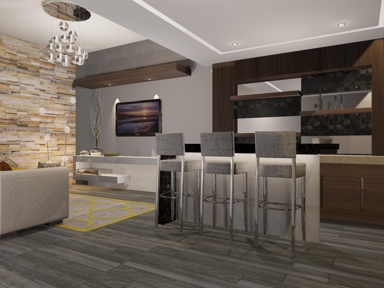 Sala y rea de bar estilo contempor neo piso duela for Sala estilo contemporaneo