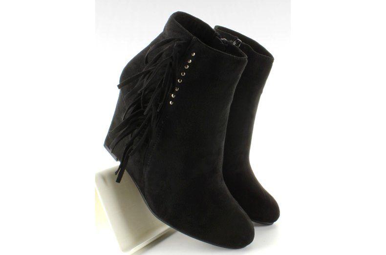 Botki Damskie Obuwiedamskie Czarne Botki Zamsz Na Koturnie Z Fredzlami Ja3083 Obuwie Damskie Ankle Boot Wedge Boot Boots