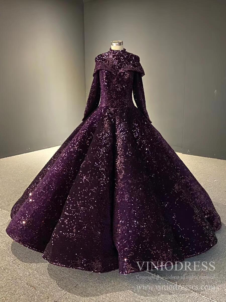 Deep Purple High Neck Muslim Wedding Dresses With Long Sleeves Fd2406 Fancy Gowns Purple Wedding Dress Debutante Dresses [ 1200 x 900 Pixel ]