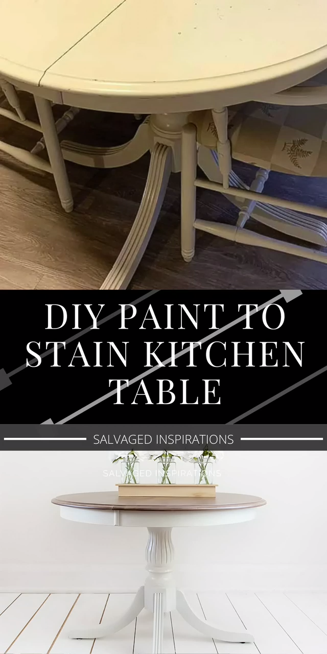 How to restyle and refresh your kitchen table with half a makeover in half the time!  | Salvaged Inspirations #siblog #salvagedinspirations #paintedfurniture #furnituremakeovers #diyfurniture #dixiebellepaint #gelstain #paintedandstained #tablemakeover