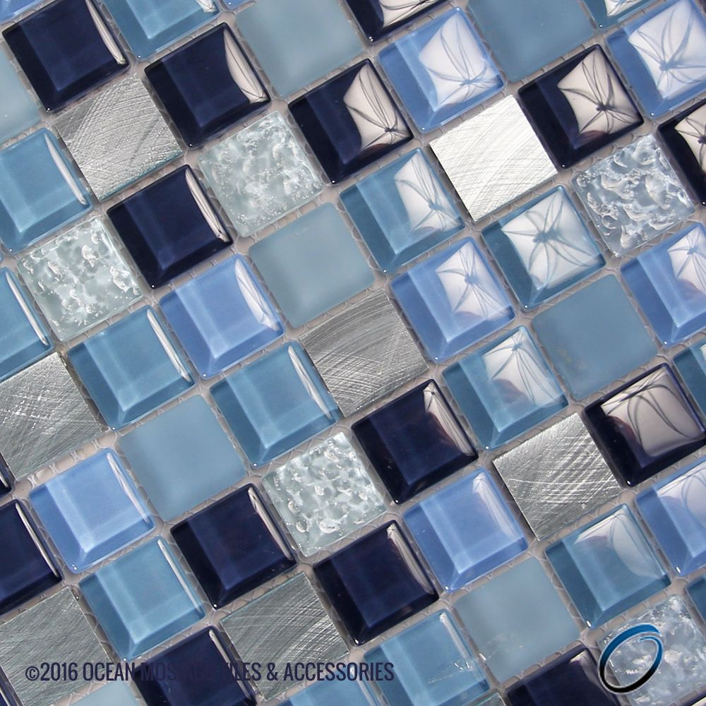 Beautiful combination of blues, grey and silvers. Add this tile ...