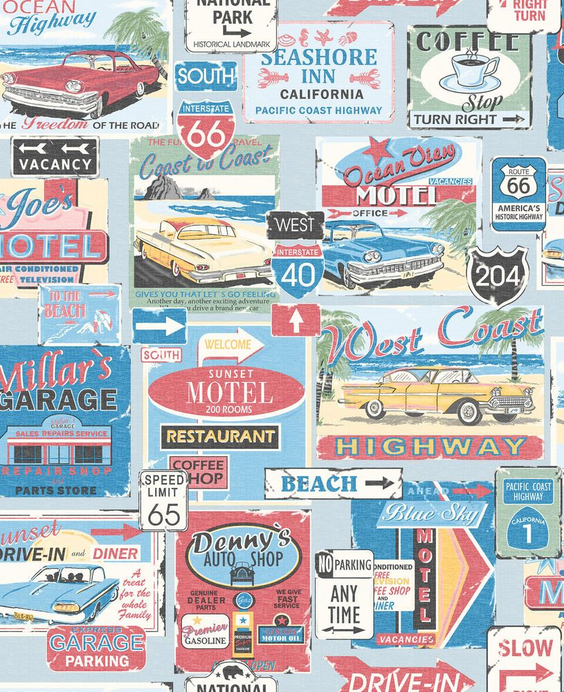 Galerie retro usa america west coast vintage feature wallpaper 5002 ...