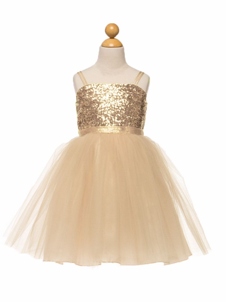 Champagne Sequined Bodice w/ Tulle Skirt & Sash | instyle infants ...