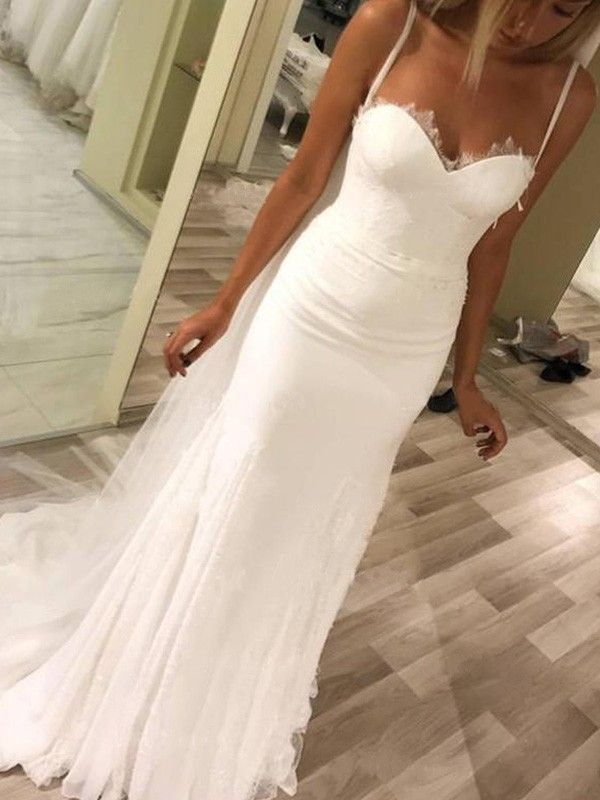 Photo of Sheath Sweetheart Straps Brush Train Satin Wedding Dresses 2019