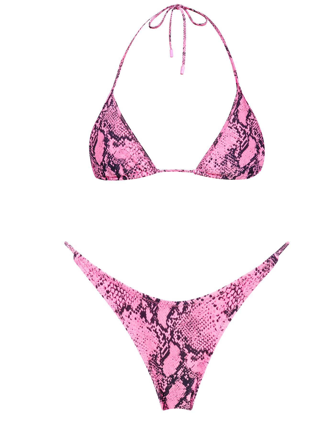 f40037f33e Hot pink snake print nylon spandex neck tie bikini. Fully adjustable  triangle top with self tie fastenings and matching high waist thin strap  bottoms.