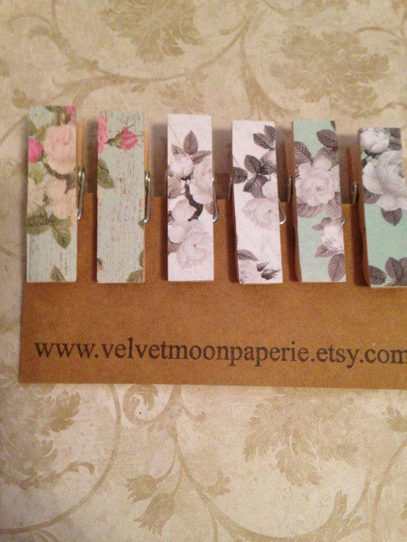 Cottage Style Wide Mini Decorative Clothespin Clips Wide Mini Memo