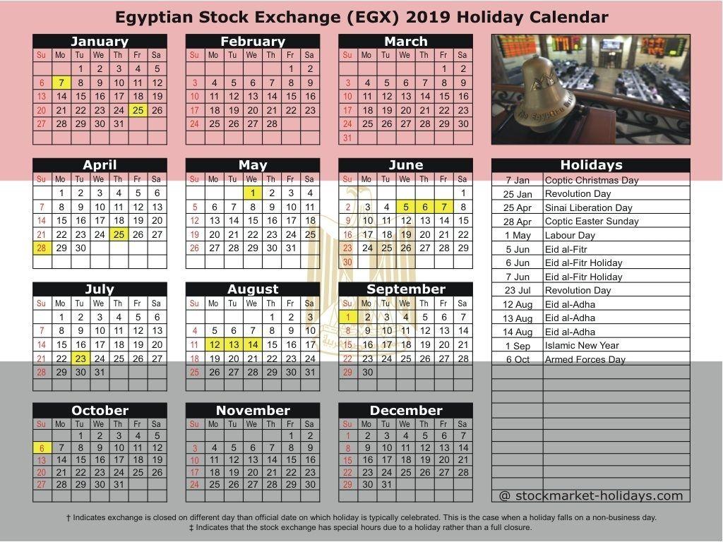 Egyptian Stock Exchange 2019 2020 Holidays Egx Holidays 2019 2020 Get In 2020 New Year Calendar Holiday Calendar Calendar