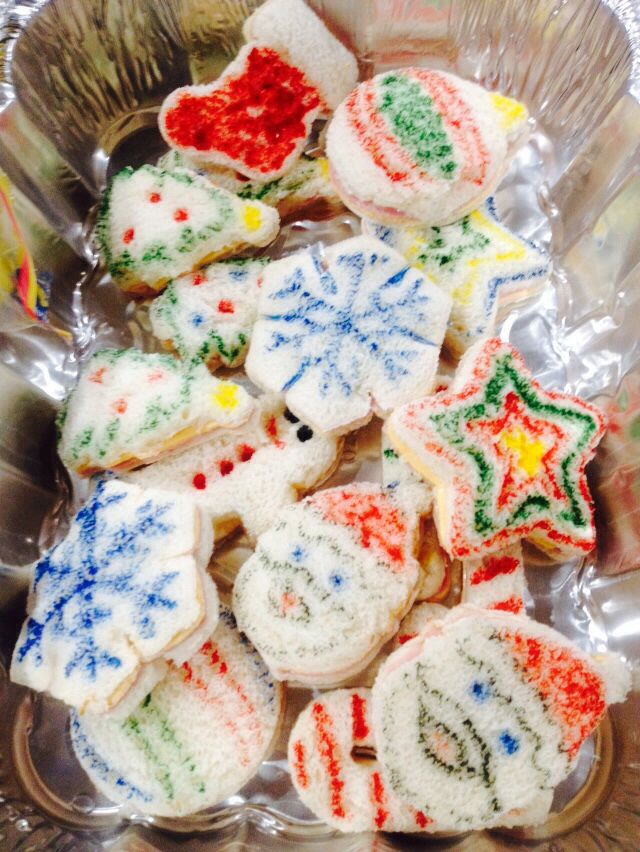 Cookie cutter sandwiches with food coloring pen art. Daycare ...