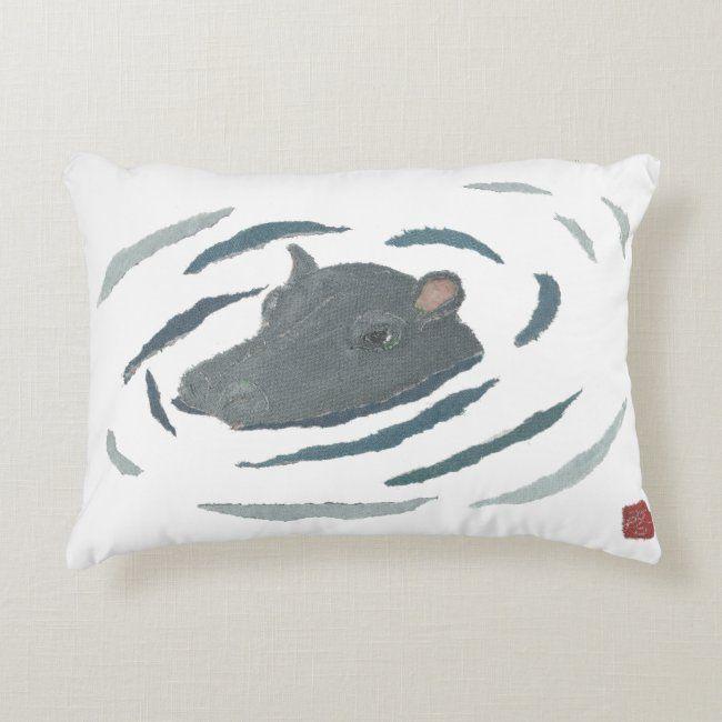Hippo, Hippopotamus, African Animal Accent Pillow