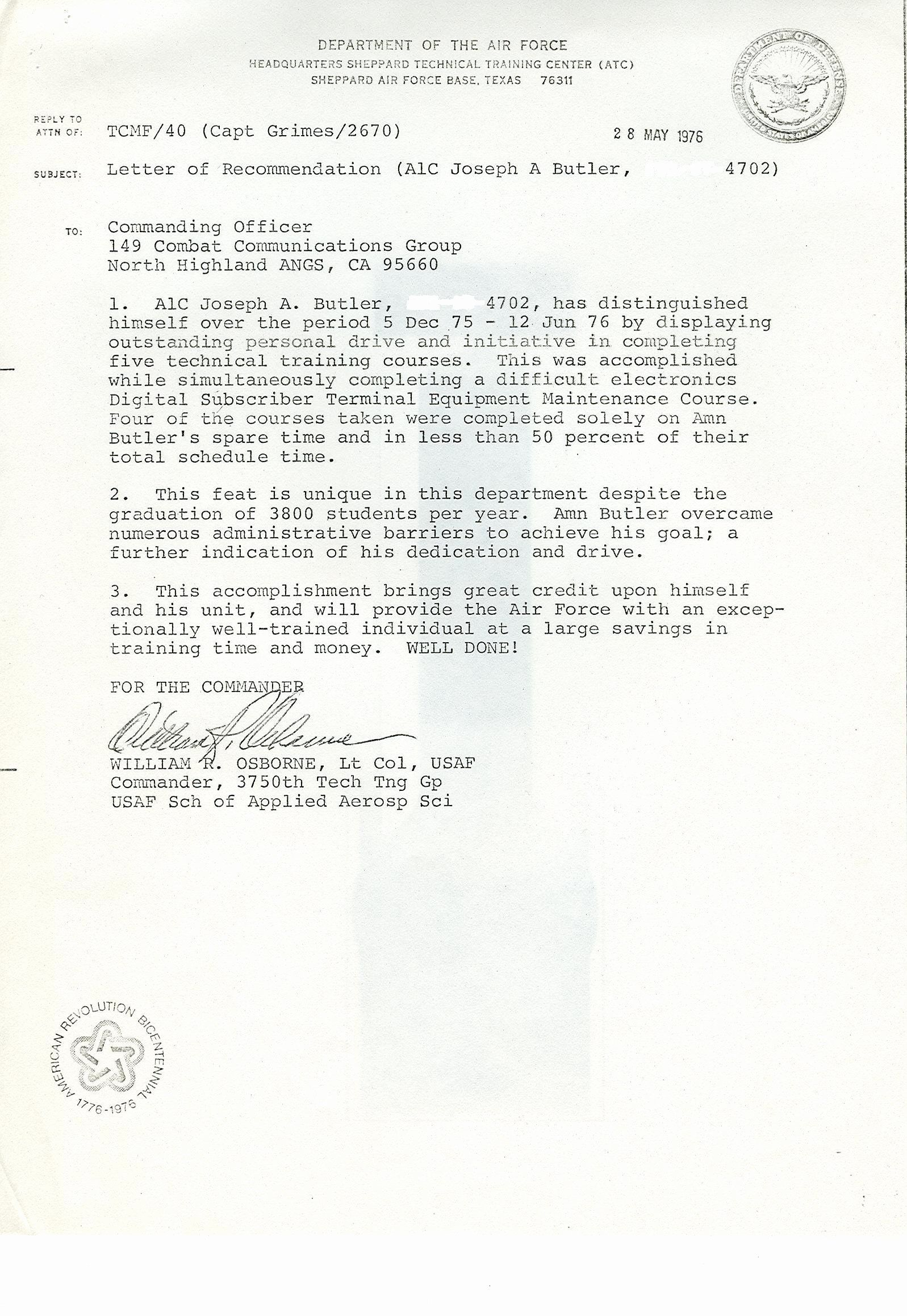 30 Letter Of Recommendation Military In 2020 Letter Of