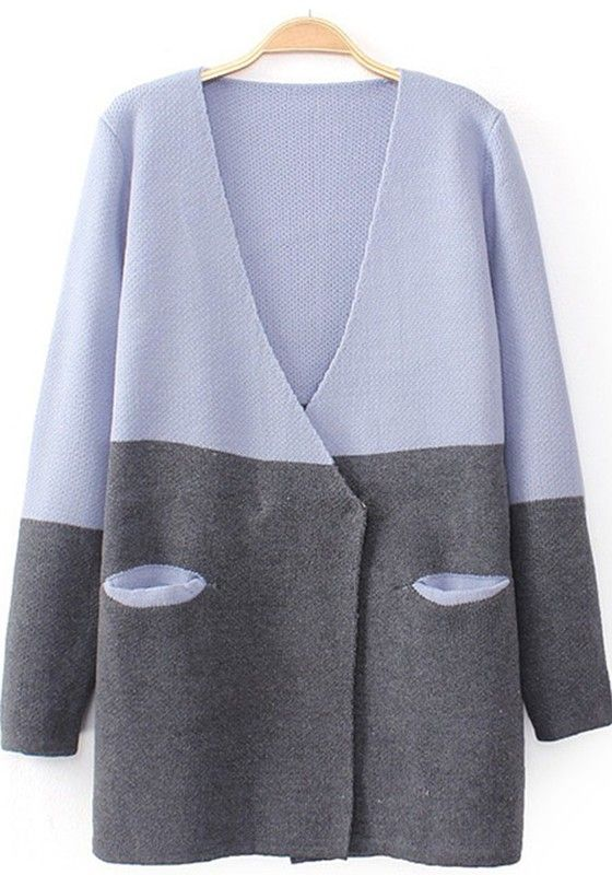 Light Purple Patchwork Pockets Long Sleeve Cardigan | Light purple ...