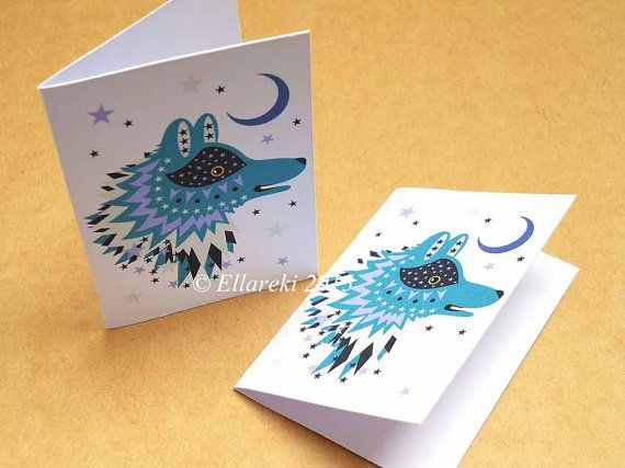 Wolf folded gift tags pack of 4 peel-off tags by Ellareki on Etsy