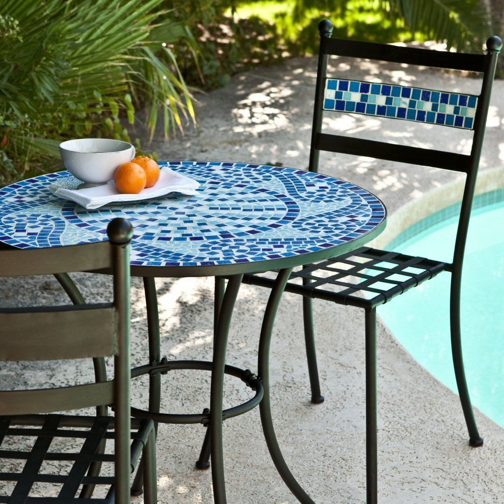 Amazon.com : Coral Coast Marina Mosaic Bistro Set : Outdoor And Patio  Furniture Sets