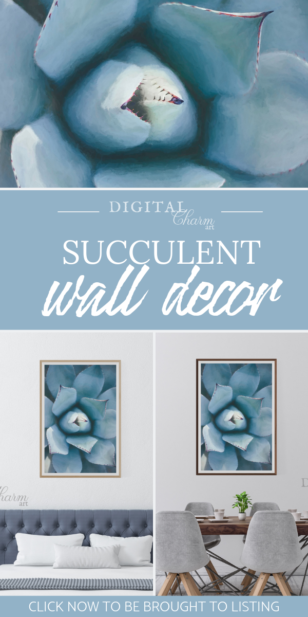 Blue Succulent Art Print Rustic Succulent Wall Decor Succulent Bathroom Decor Colorful Printable Wall Art Gift For Her Digital Download Succulent Wall Succulent Wall Art Blue Succulents